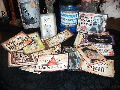 15 Halloween Witch Potion Bottle Labels - Peel-n-Stick Stickers (set TWO) Scary