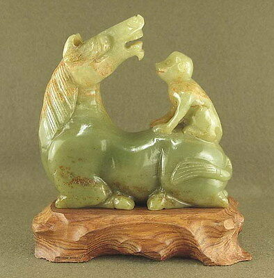 STUNNING WITH CARVED CHINESE OLD JADE STATUE MONKEY PLAY HORSE