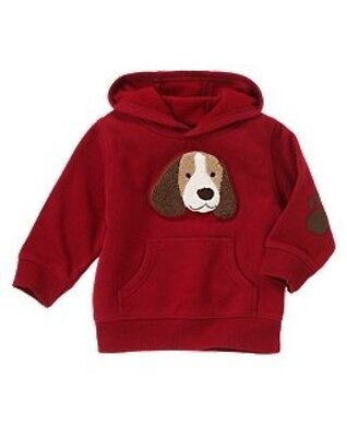 NWT Gymboree Barkside Academy Pullover Puppy Hoodie Dog Sweatshirt Red Boy 4T 5T
