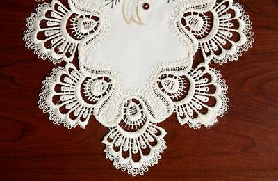 """Christmas Candles Diamond Table Runner 15"""" X 34 1/2"""" Country Embroidery And Lace"""