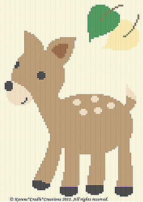 Crochet Patterns - DEER/FAWN Woodland Animal Baby Afghan Graph Pattern *EASY