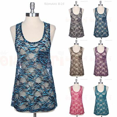 Lace Tank Top Racerback Round Neck Sleeveless Sheer Zebra Print Chest Pocket