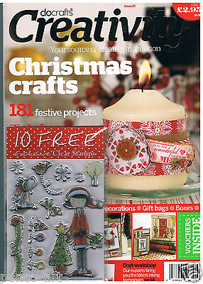 Docrafts creativity magazine Sept 2012 no. 35 + free 10 set clear 'Tulip' stamps