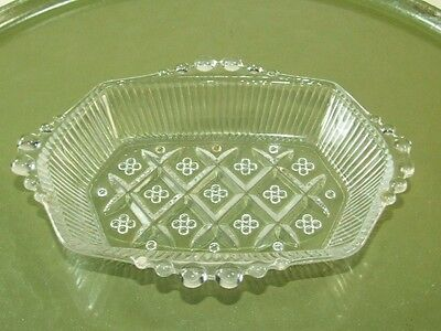 Vintage Art Deco Clear Beaded Glass Trinket Dish