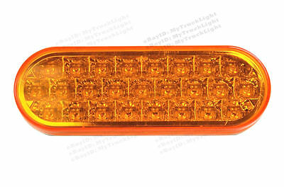 "6"" Oval Truck Trailer Clearance Side Marker Turn Tail light 25 Amber LED/Lens"