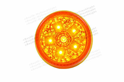 "2"" Round 6 Amber LED Clearance Trailer Truck RV Marker Signal Turn yellow Light"