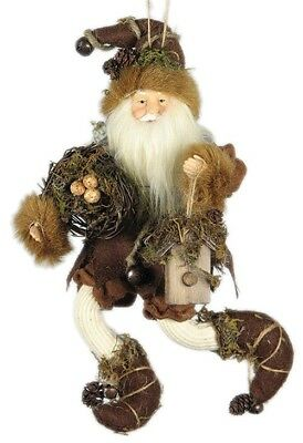"""9"""" Whimsical Christmas Holiday Forest Elf W/bird House - Brown E00970"""