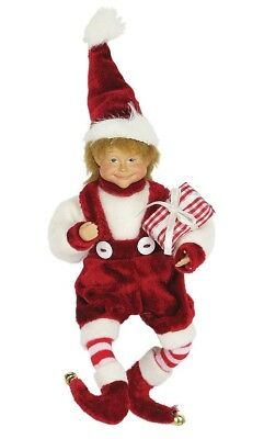 """8"""" Whimsical Christmas Holiday Elf W/gift - Red/white E20803"""