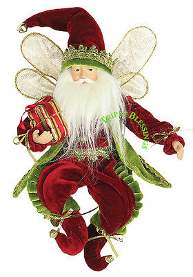 """12"""" Whimsical Christmas Holiday Flying Elf W/gift - Red/green E21201"""