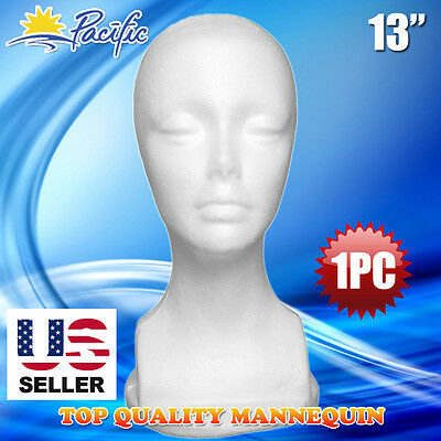 "1PC 13"" STYROFOAM FOAM MANNEQUIN MANIKIN head display wig hat glasses"