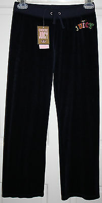 NWT Girls Juicy Couture Navy Blue Velour Pants Size 10