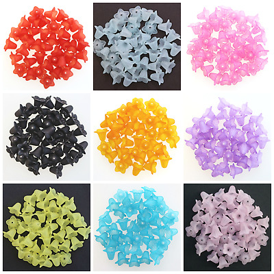 50 FROSTED LUCITE LILY FLOWER BEADS 17 x 12mm JEWELLERY MAKING - CHOOSE COLOUR