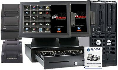ALDELO POS 2013 PRO RESTAURANT BAR COMPLETE SYSTEM 2 Stations Windows 7 NEW