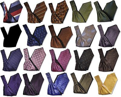 Mens British Made Retro Under Shirt Ascot Cravats - Spotted Striped Patterned