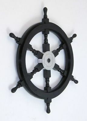 "24"" Black Ships Wheel ~ Wood / Chrome ~ Nautical Maritime Wall Decor"