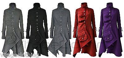 NEW Black Charcoal Military Style Fitted Jacket Trench Winter Button Coat 8-14