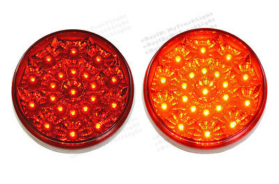 """2) 4"""" Round 21 Red LED Clearance Truck Trailer Marker Turn Brake Stop Tail Light"""