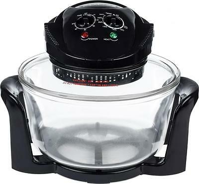 Andrew James 12 Litre Halogen Oven Convection Cooker 1400W Accessory Pack Black