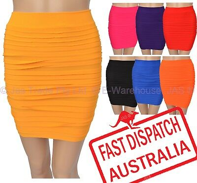 Dressup Disco Party Costume Bandage Bodycon Strechy Rib Let's Dance Mini Skirt
