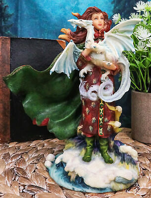 """Frost Moon Dragon Winter Fairy Statue 7.5""""H Decorative Mythical Fantasy Figurine"""