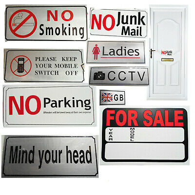 Sign Adhesive Plaque Shop Office Metal Door Stick Plastic Sticker Warning Safety