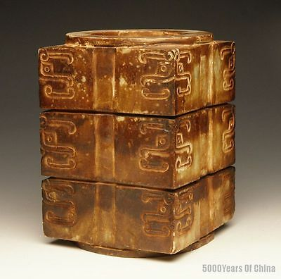"5.92"" Great Old Chinese Carved Face Serpentine Jade Cong"
