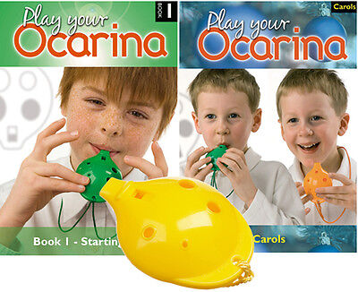 OCARINA, Yellow 4-hole, Play Your Ocarina BOOKs 1 and CAROLS, with FREE DELIVERY