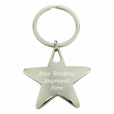 Personalised Chunky Chrome Star Keyring Gift, Engraved With Any Message