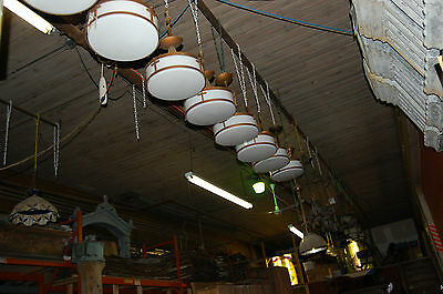 Nice Antique Milk Glass Hanging Light Fixture With Brass Decor 4 Available