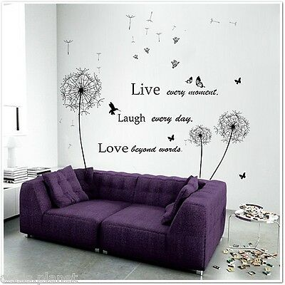 HUGE Dandelion Live Laugh Love Butterflies Vivid Girl Wall Stickers Mural paper