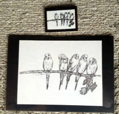 Parakeets 2Pc Set Small Print on 5x7 Black Mat Ready to Frame and Magnet - New