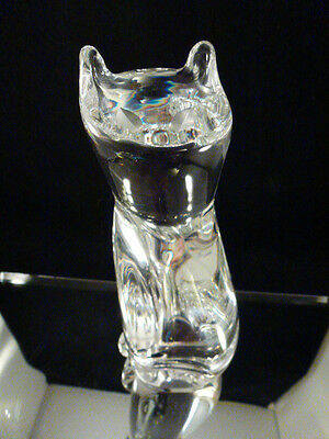 Rare STEUBEN art glass crystal TALL SLINKY CAT  siamese burmese calico  9 INCHES