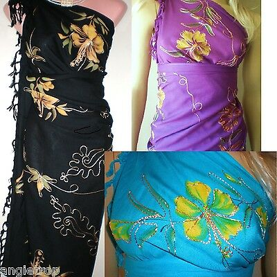 Bali Sarong Boho Hippy Chic W Fringe embroidered Hibiscus Beach Cover Wrap dress