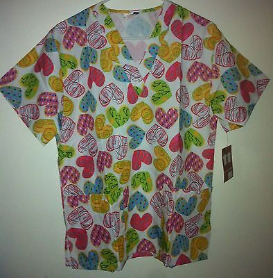 Printed Scrub Top V Neck Scrub Top 2 Pocket Crazy Hearts Delta