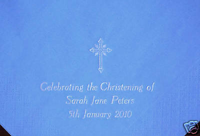 50 Personalised Christening/Baptism Napkins 40x40cm 3ply 3 lines text & Cross