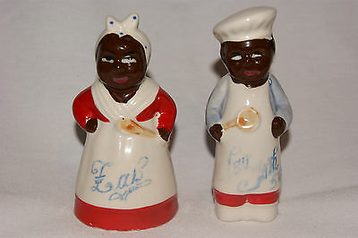 "Black American ""Mammy and Chef"" Salt and Pepper Shakers"