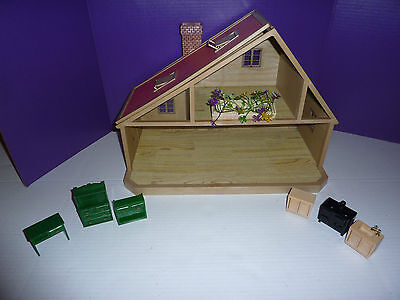 1980's EPOCH Dollhouse and 7 pc Furniture playset