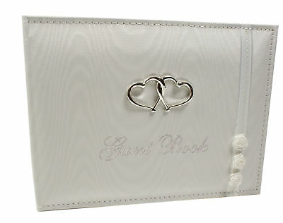 Heart And flowers Quality White Wedding Guest Book Boxed New 77514