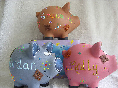 Personalised Mini Ceramic Patch Piggy Bank/money Box