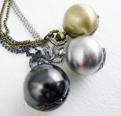 New Bronze Black Silvery Ball Sphere Steampunk Pocket Watch Necklace Men Lady