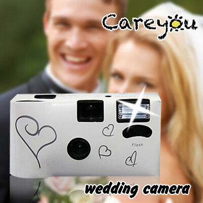 10 x HEARTS DISPOSABLE 27exp WEDDING Bridal CAMERA WITH FLASH AND TABLE CARD