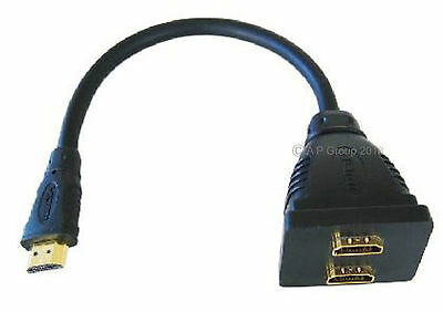 HDMI Splitter - Send Audio & Video Signal from device to 2 Screens Monitors TV