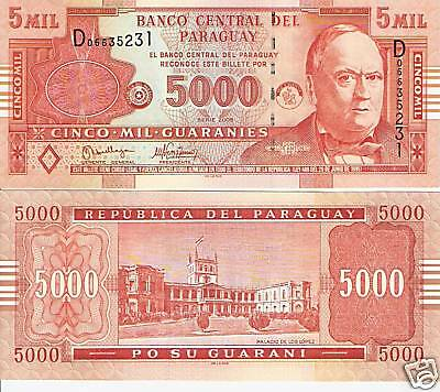 PARAGUAY 5000 Guaranies Banknote World Money Currency BILL S. America Note p223a