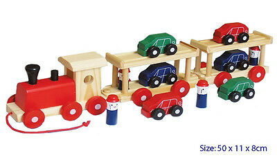 NEW Wooden Semi Truck / Train Pull Along with 6 Cars & 4 People