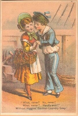Victorian Trade Card-Higgins' Laundry Soap-Philadelphia, PA-Sailor & Young Lady