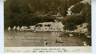 1907 Postcard showing people at Sandy Beach Monte Rio Russian River CA