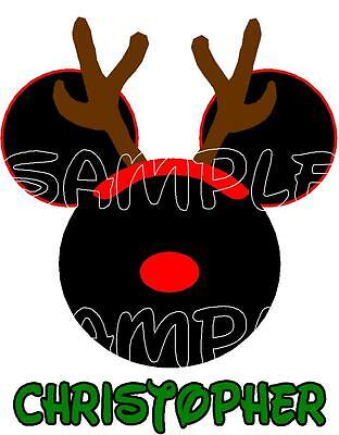 Custom Personalized Minnie or Mickey Mouse Christmas reindeer Iron On Transfer