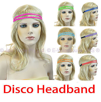 Disco Fluro 80s 80's Party Dance Costume Braided Plaited Hair Head Band Headband