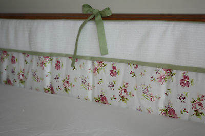 NEW Baby girl's flowery 2 BUMPERS (nursery, bedding) All way round the cotbed