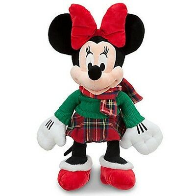 """Minnie Mouse Holiday Plush 17"""" Embroidered 2012 Disney Store Logo On Foot Cute!"""